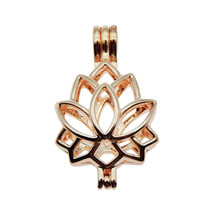 10pcs Rose Gold Lotus charm Pearl Cage Jewelry Making Bead Cage Pendant Aroma Essential Oil Diffuser Locket for Oyster Pearl