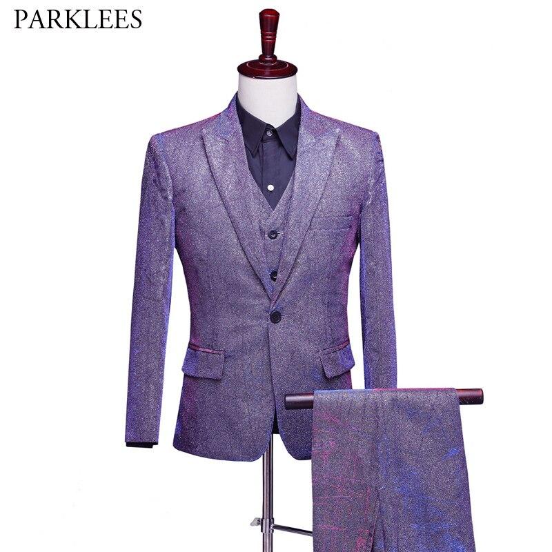 Shiny Purple Change Color Single Button Suit Men Party Wedding Tuxedo 3 Pieces Suit (Jacket+Pants+Vest) Stage Singer Costumes