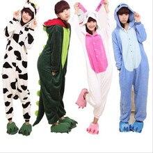 Взрослых Для женщин пижамы Пижама с рисунками животных Детские пижамные комплекты с героями мультфильмов с капюшоном пижамы фланелевая Ночная Единорог стежка Пикачу динозавров bat