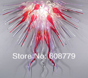 Free Shipping Red and Clear Blown Glass Crystal Chandelier Parts in Chandeliers from Lights Lighting
