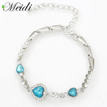MEIDI New Fashion Heart Bangle Bracelet Ocean Blue Sliver Plated Crystal  Heart Bracelet Link Chain Jewelry Accessories for Women 2ae9dd51b372