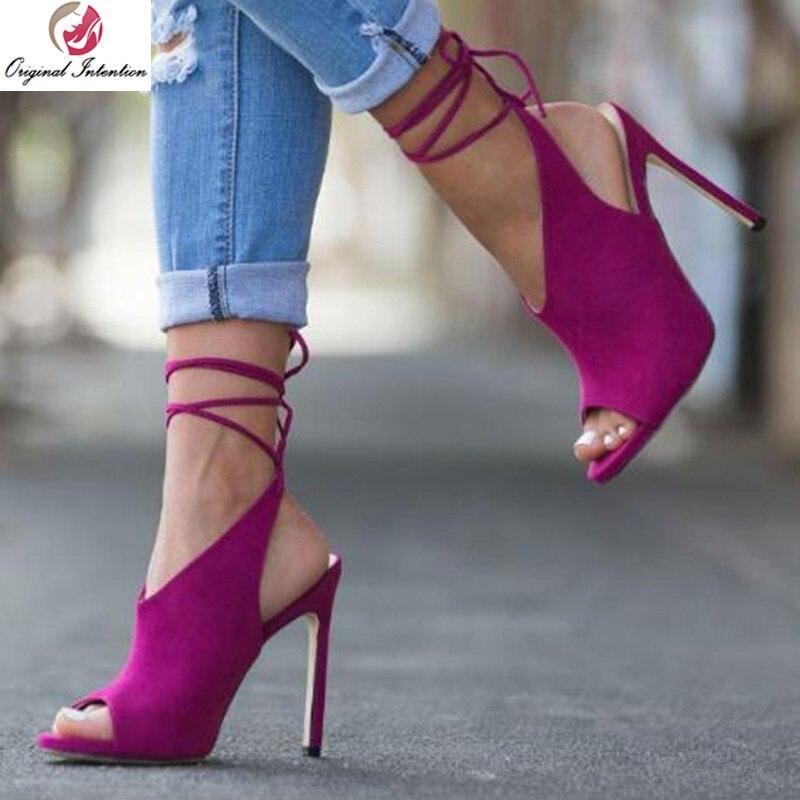 Intention originale femmes sandales populaire bride à la cheville Peep Toe talons fins sandales hautes chaussures populaires Rose rouge 5-15.