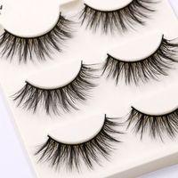 3Pairs Makeup Natural False Eyelashes Black 3D Mink Fake Eye Lashes Long Make up Extension Tools wimpers for Beauty maquiagem False Eyelashes