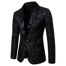 Для мужчин Стильный Роскошные Повседневное Винтаж Пейсли зубчатый Блейзер урбанистический Smart с длинным рукавом одной кнопки пальто пиджак