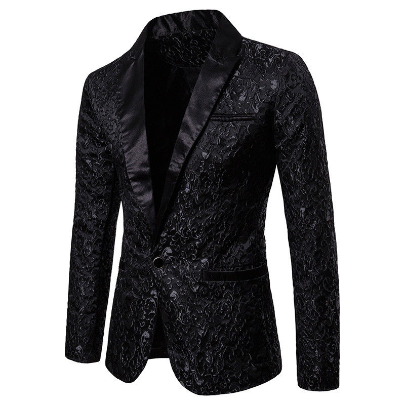 Men's Stylish Luxury Casual Vintage Paisley Notched Blazer Urbane Smart Long Sleeve Single Button Coat Suit Jacket