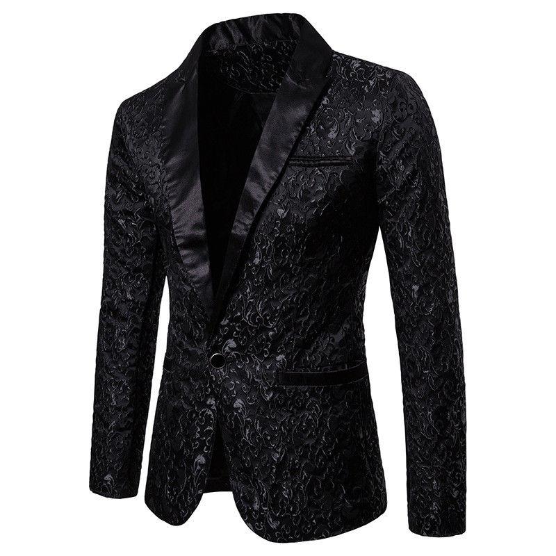 Men's Stylish Luxury Casual Vintage Paisley Notched Blazer Urbane Smart Long Sleeve Single Button Coat Suit Jacket
