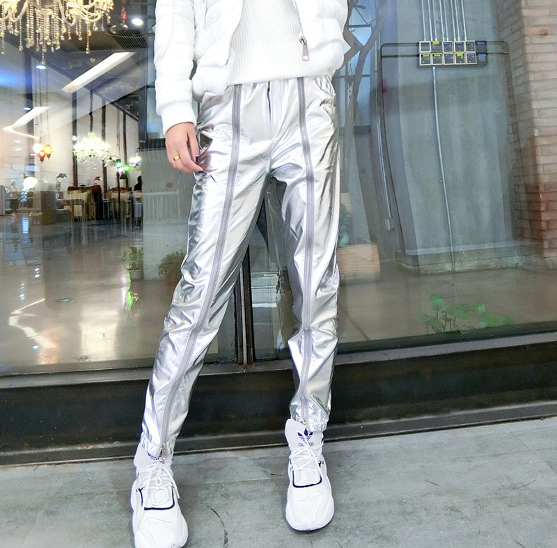 Women Pants 2019 Spring New Fashion Cool Punk Style Silver Leather Pants Beam Foot Zipper Korean Casual Pants Fashion Streetwear