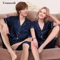 Couple Silk Pajamas Short Sleeves Sleep Sleepwear Shorts Men Women lounge Satin Silk Pajamas set