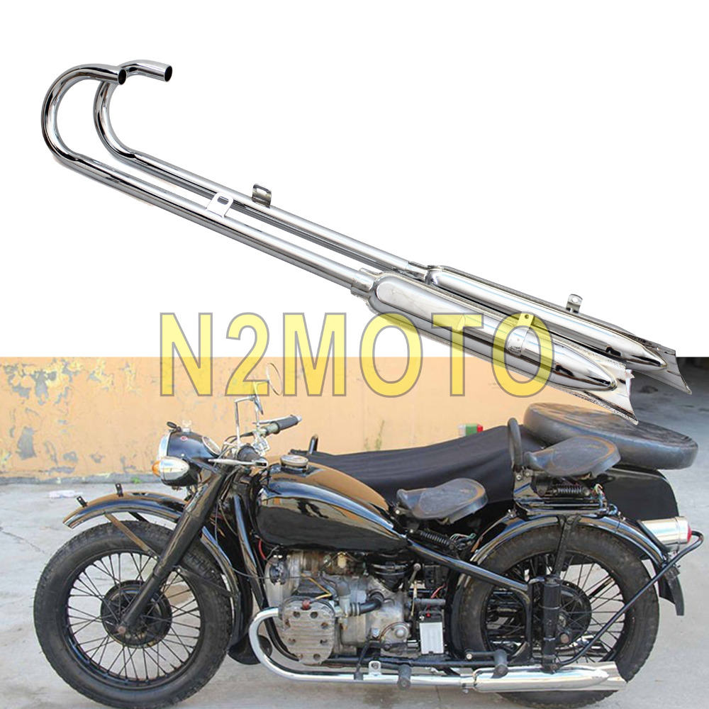 Motorcycle Chrome Front Rear Retro 750cc Exhaust Muffler Pipes 32HP Engine Part for BMW Ural K750