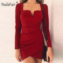 a9029fd48df Nadafair V Cou Dos Nu Sexy Club Robe Femmes Clubwear Automne Hiver À Manches  Longues Mini Parti Moulante Robe Rouge noir