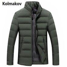 KOLMAKOV 2017 new winter high quality men's stand collar solid color down jacket warm parkas,90% white duck down coats men.M-3XL