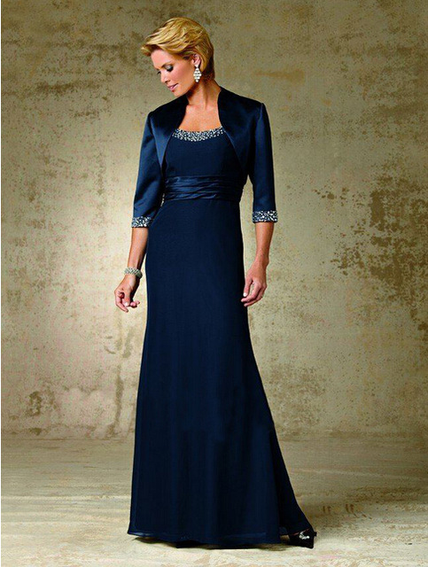 25d457432e7 2016 Elegant Plus Size Mother Of The Bride Dresses With Jacket Crystals  Simple Beach Navy Blue Chiffon Women Evening Party Gowns