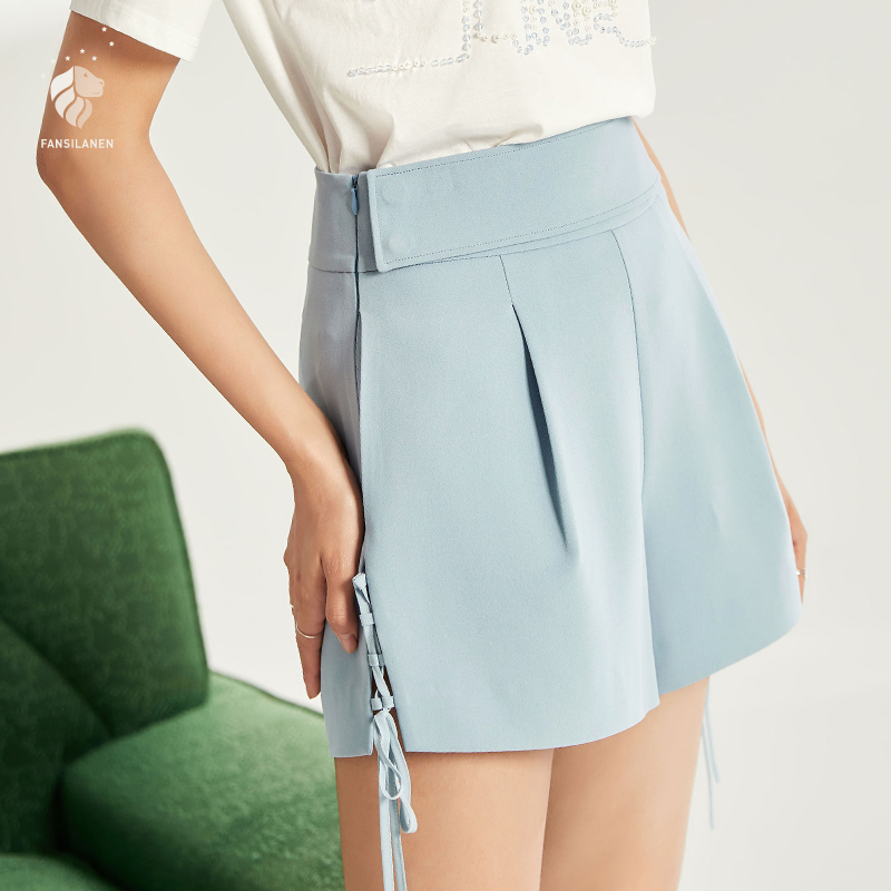 FANSILANEN New Arrival Fashion Spring/Summer Women Preppy Style   Shorts   High Waist   Shorts   Solid White Light Blue Z82506
