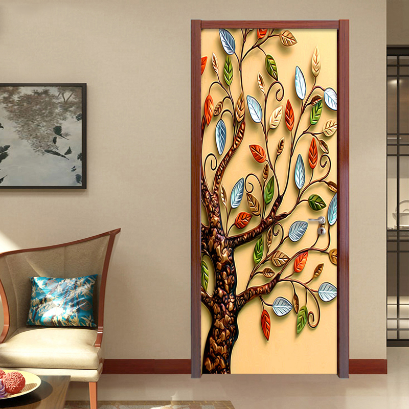 3D Stereo Relief Colorful Tree Photo Wall Mural PVC Self-Adhesive Waterproof Door Sticker Wallpaper Living Room Study Art Decor