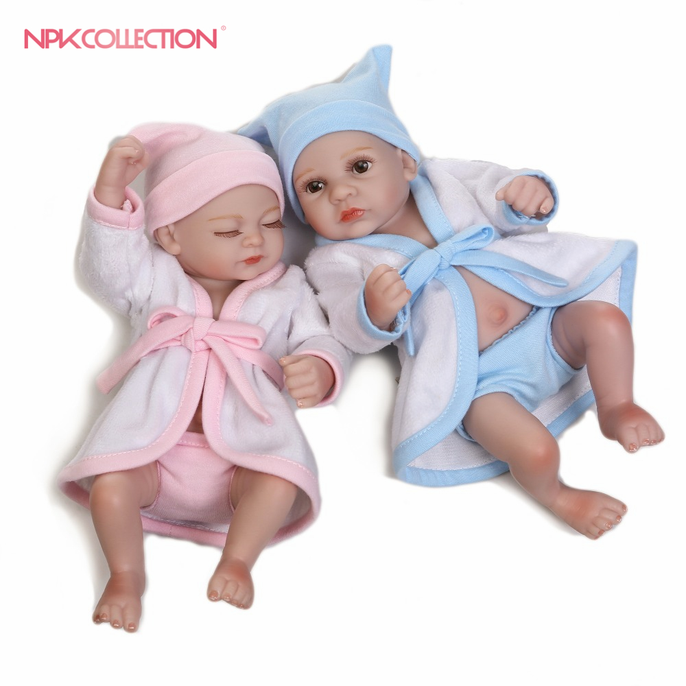 NPK Waterproof Mini Baby Doll Pair Lifelike Living Doll Solid Silicone Children Gift 12 inches mini dollhouse mini furniture model living room doll baby baby doll