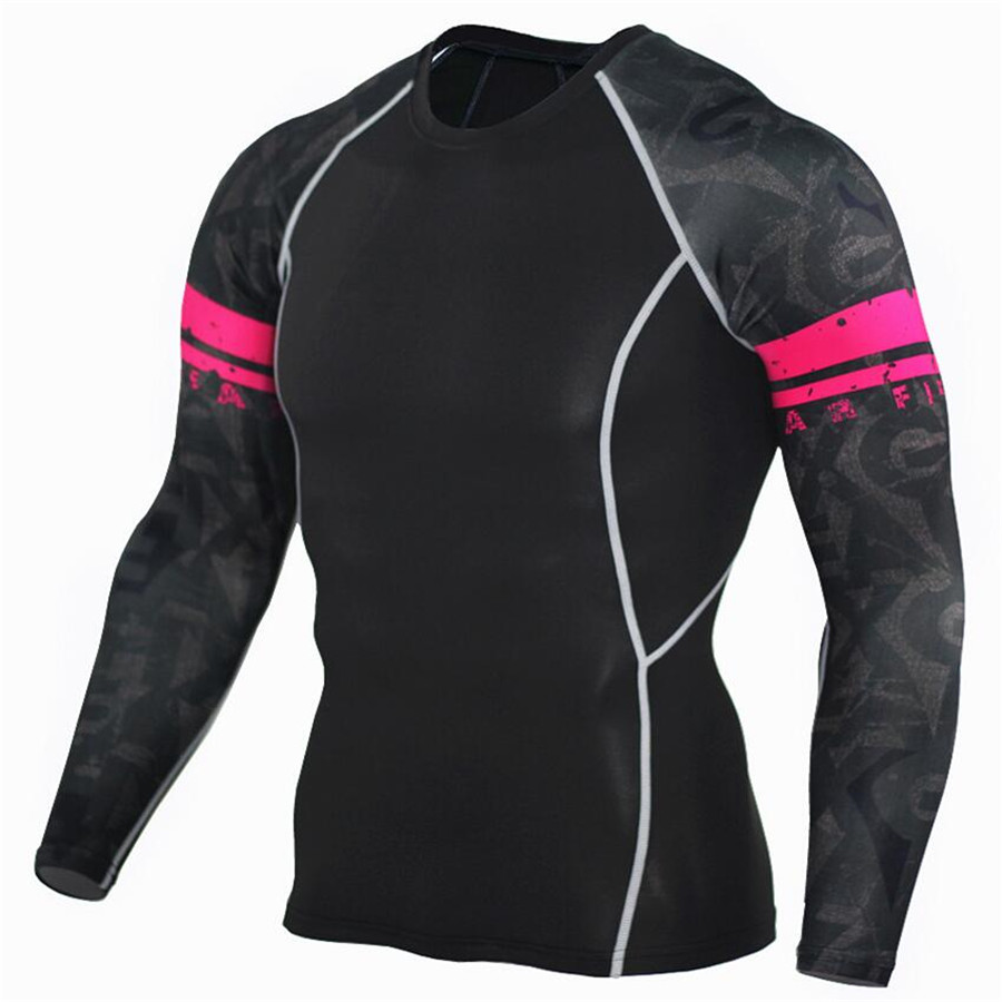 Muscle Men Compression Tight Skin Shirt Long Sleeves 3D Prints Rashguard Fitness Base Layer Weight Lifting Male running Tops in Running T Shirts from Sports Entertainment