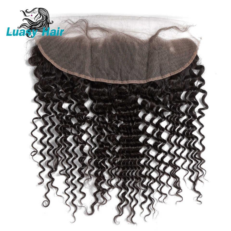 Luasy cabelo encaracolado brasileiro fechamento do laço frontal com cabelo do bebê 13x4 orelha a orelha pré arrancado 100% remy fechamento do cabelo humano