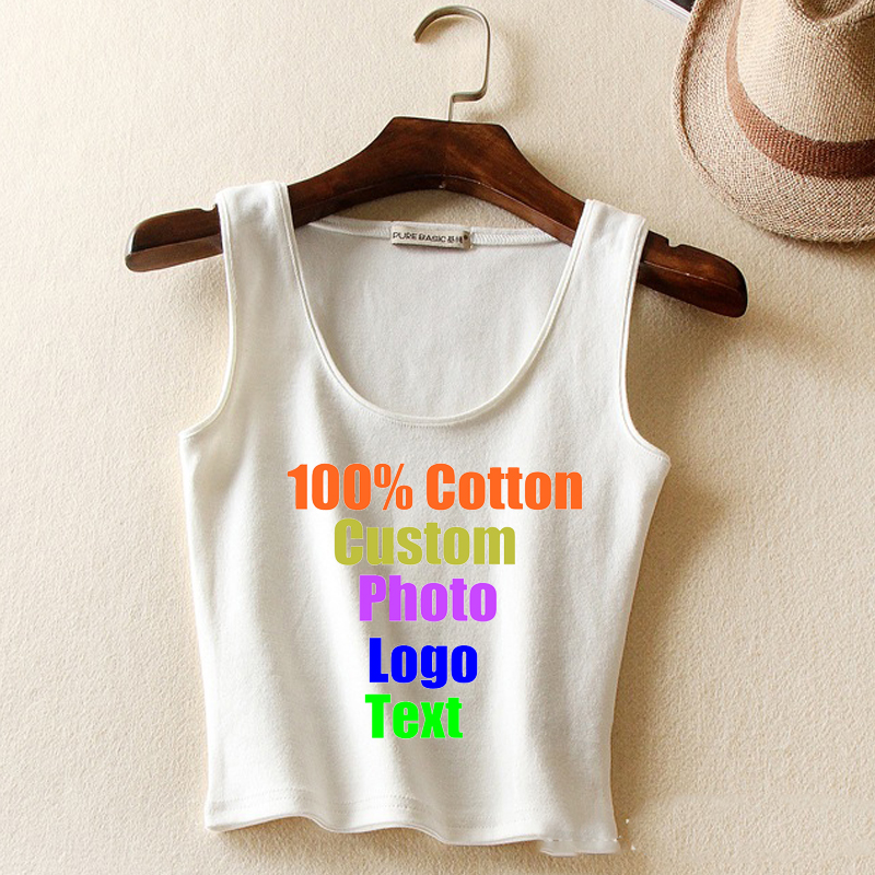 Cotton High Quality sexy Sleeveless Women Cropped   Top   T-shirt Custom Logo Photo Printed Text Female T shirt Crop Slim Tees 2018