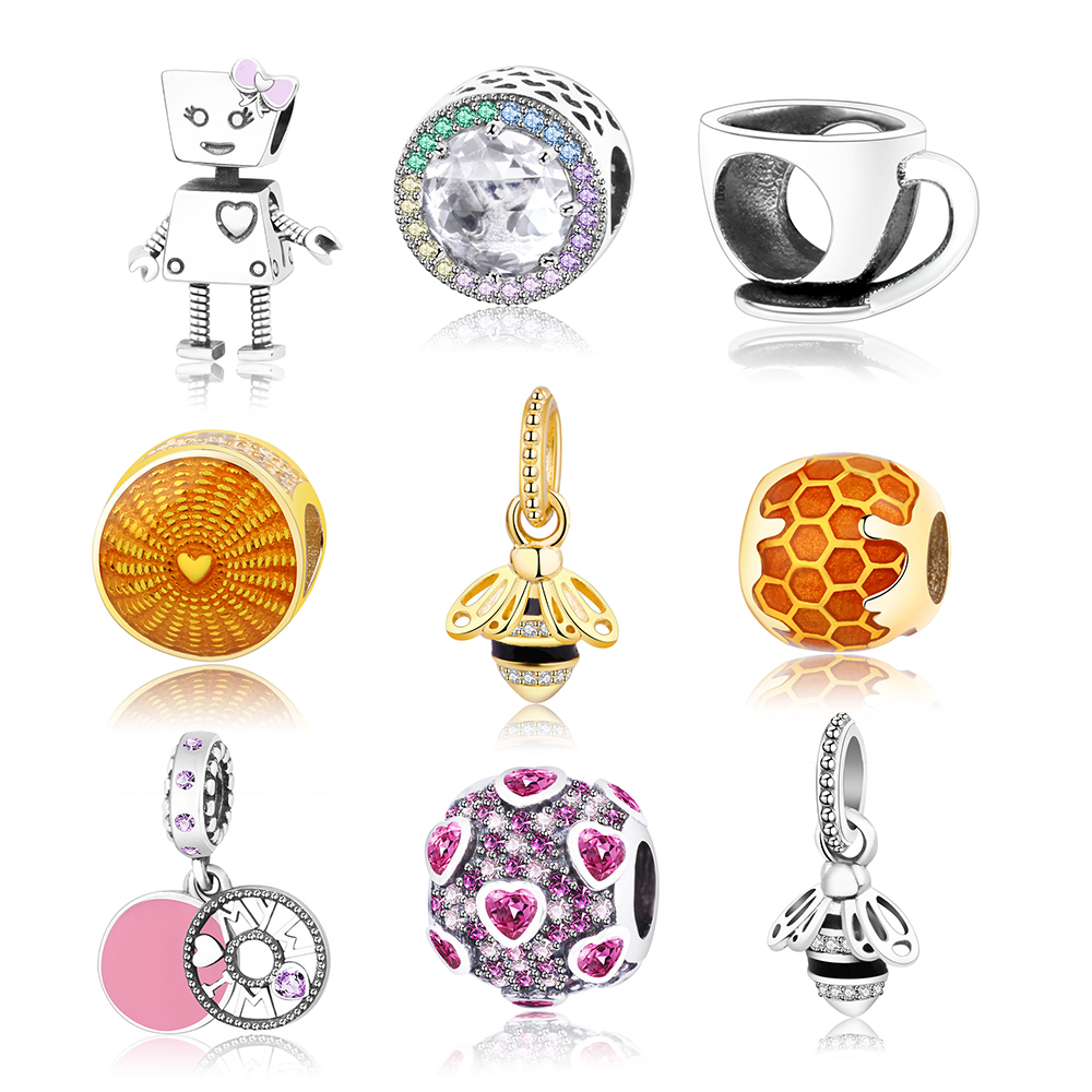 Fits Original Pandora Charm Bracelet 925 Sterling Silver Heart/Bee/Robot/Cup Charms Beads 2018 Newest Summer Collection DIY Gift