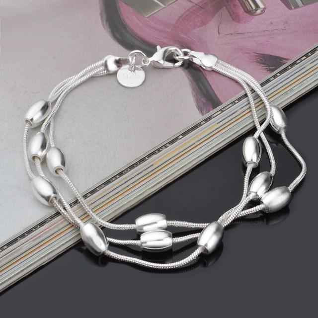 H236 925  silver bracelet, 925  silver fashion jewelry Three Line Gloss Ball Bracelet /azvajrca awjajnqa