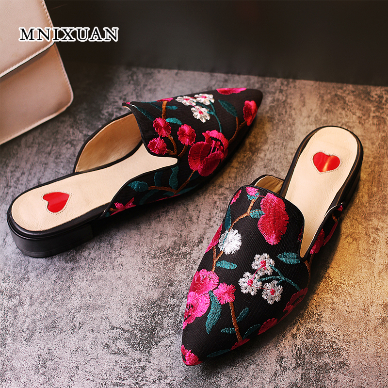 MNIXUAN chinese embroidered women shoes mules 2018 summer new leather sexy pointed toe square heels lady slippers big size 34-43 mnixuan women slippers sandals summer