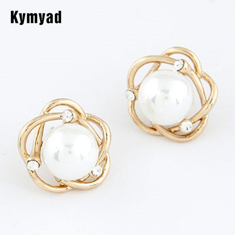 3b12015fcf15 Kymyad joyería del verano moda imitación perla joyas Pendientes para las  mujeres vintage brincos oro color pendientes Pendientes de broche