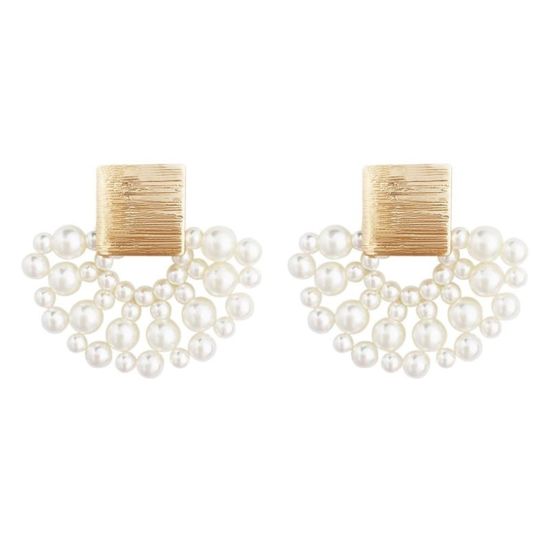 Vintage Simulated-pearl Geometric Women Dangle Earrings Sector Pearl Earrings Bohemian Drop Earrings