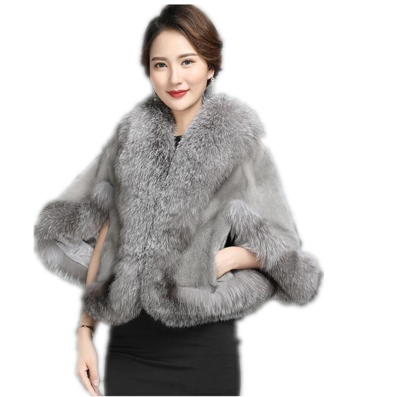 Real mink fur cape with fox trim stole shawl vintage women winter black  cloak Real  wraps plus size luxury C173