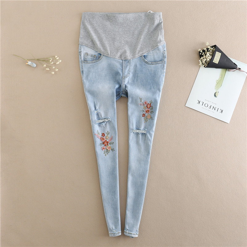 Embroidery Flower Denim Maternity Jeans Summer Light Blue Ripped Hole Pencil Pregnancy Trousers Clothes Pregnant Women image