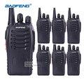 6 unids baofeng 888 s walkie talkie con auriculares de largo alcance radios de 2 vías recargables de negocios jamón hf de radio comunicador transceptor