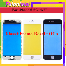 10Pcs/lot OEM Quality 3 In 1 For iPhone 6 6G Plus 6plus Front Glass+Frame Bezel+OCA Touch Screen Outer Panel Lens Repair Part