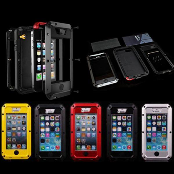 imágenes para De lujo A Prueba de Golpes Dirt prueba Funda Impermeable Para iphone 4 4S Heavy Duty Armor Duro de La Cubierta de Aluminio de Metal Cubierta de Gorilla Glass