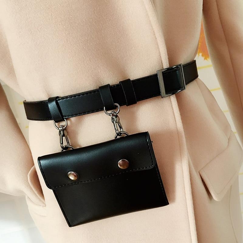 New Vintage PU Leather Waist Belts Bag Decoration Women Leisure Waist Pack Travel Belt Wallets Accessories
