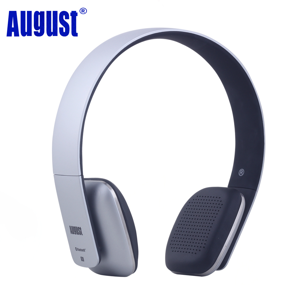 August EP636 Bluetooth Headphones with Microphone Wireless Stereo Bluetooth Headset BT4.1 Headphone for Phone PC Tablet - Silver ultra light wireless bluetooth stereo headphones earphone headset with microphone for android smartphone iphone7 6 6s tablet pc