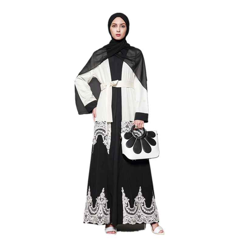 Women's Muslim Dubai Loose Caftan Embroidery Lace Abaya Arab Fashion Dress Arabic Turkish Kaftan Female Plus Size Clothing