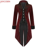 JAYCOSIN Fashion Winter Coat Mens Tailcoat Jacket Goth Steampunk Uniform Costume Praty Long Sleeve Outwear Coat Black Red z1105