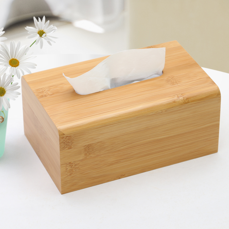 Coaste New Solid Natural Bamboo Wooden Bath Kleenex Tissue Box Cover Holder