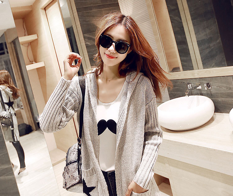 US $3.02 21% OFF Jumper Koreanische Modelle Trend Herbst Winter Lange Strickjacke Frauen Lose Stricken Mit Kapuze Pullover Mantel Kleidung Vestidos