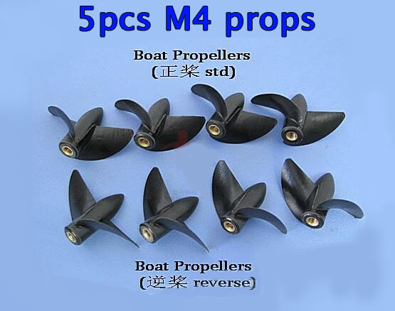 5pcs RC Boat M4 shaft propellers 2-blades positive/reverse nylon plastics  Diameter 35/39/42/45mm