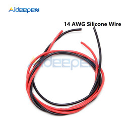 1 Pair 14 AWG Gauge Wire Flexible Silicone Stranded Copper Cables For RC Black Red 2M Length