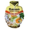 Ramen Noodle Soup Chicken Foods 3D Graphic Hoodies Men Women Print Pork/Chicken/Beef Hooded Vibrant Young Style Sweatshirts 3XL
