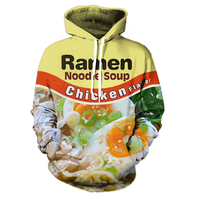 Ramen Noodle Soup Chicken <font><b>Foods</b></font> 3D Graphic Hoodies Men Women Print Pork/Chicken/Beef Hooded <font><b>Vibrant</b></font> Young Style Sweatshirts 3XL