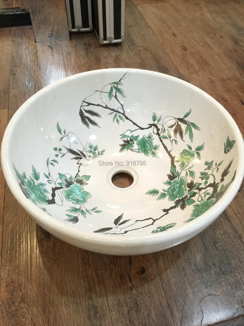 Porcelaine ronde salle de bains au-dessus du comptoir Lavabo vestiaire comptoir en céramique évier cuve Lavabo bol JY896