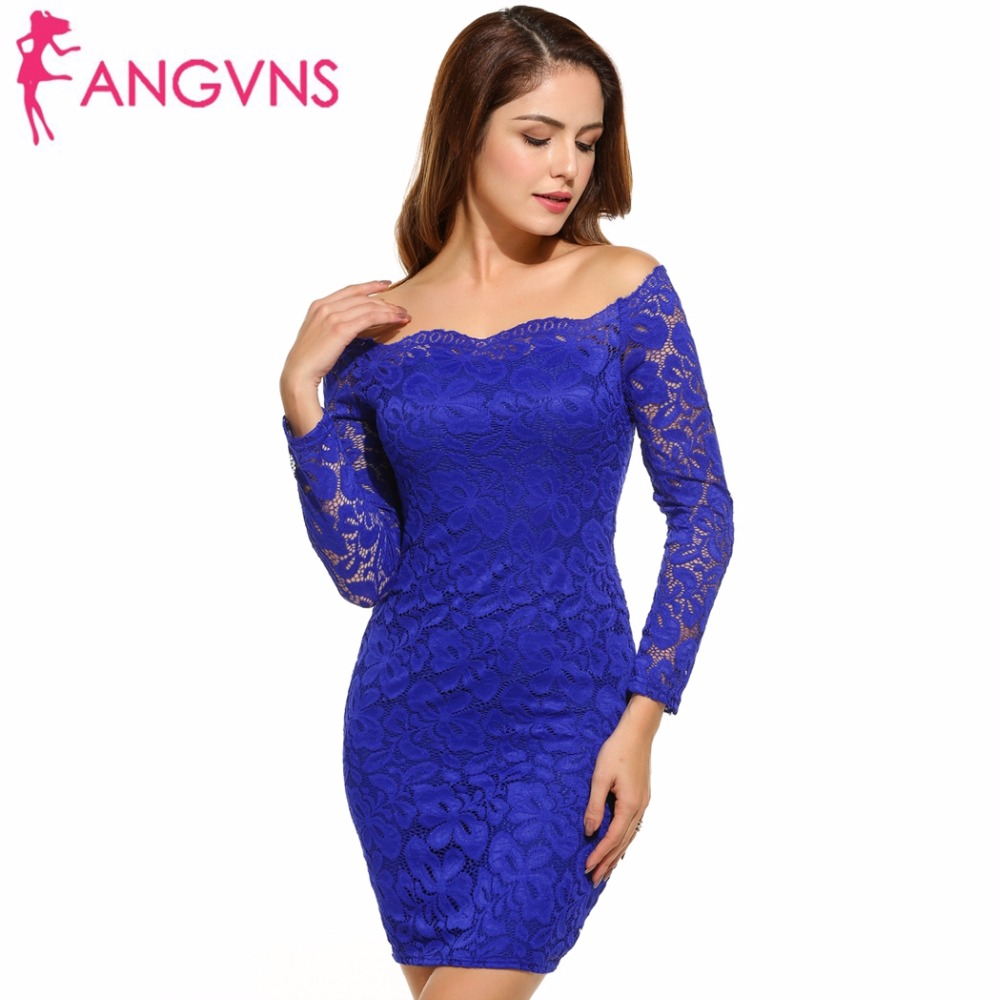 ANGVNS Lace Bodycon Dress Plus Size Women\'s Off Shoulder Sexy Dress ...