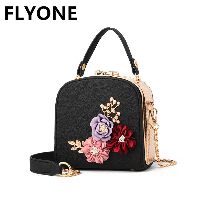 Embroidery Flower Flap Women Handbags Casual Mini PU Leather Frame Handbag Small Functional Chains Shoulder Bags Sweet Tote Bag flower embroidery flap chain bag