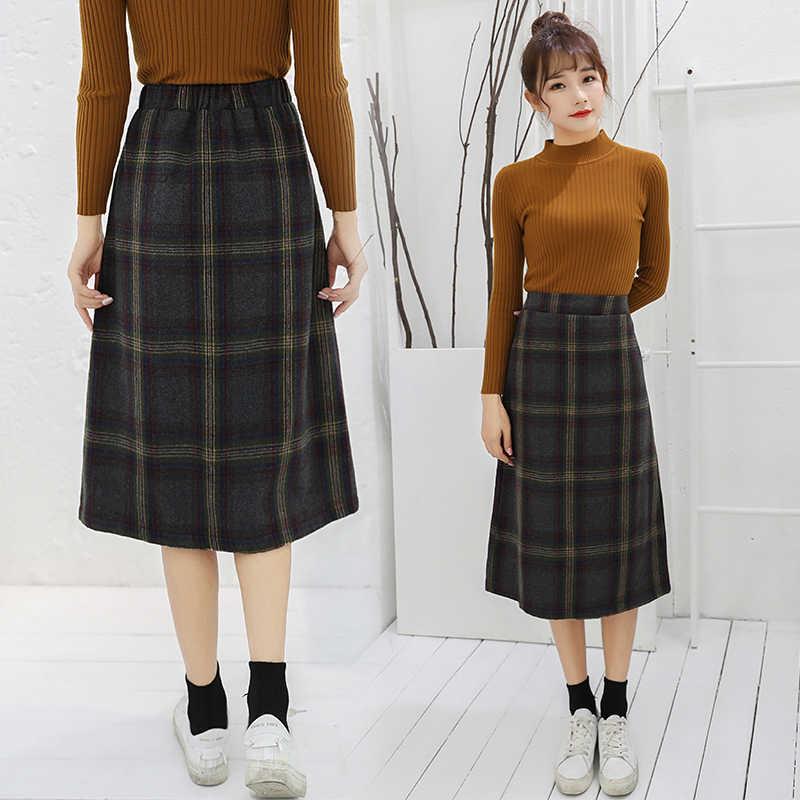 7af789a900 ... Fashion Long Skirt Korean Style Plaid Simple Vintage A-Line Skirts Women  2018 Autumn Winter ...