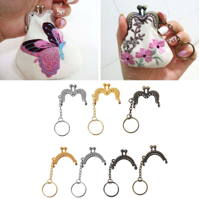 1PC Iron Alloy Coin Purse Bag Arch Frame Kiss Clasp Lock With Key Ring DIY Craft Oval Shape 4cm
