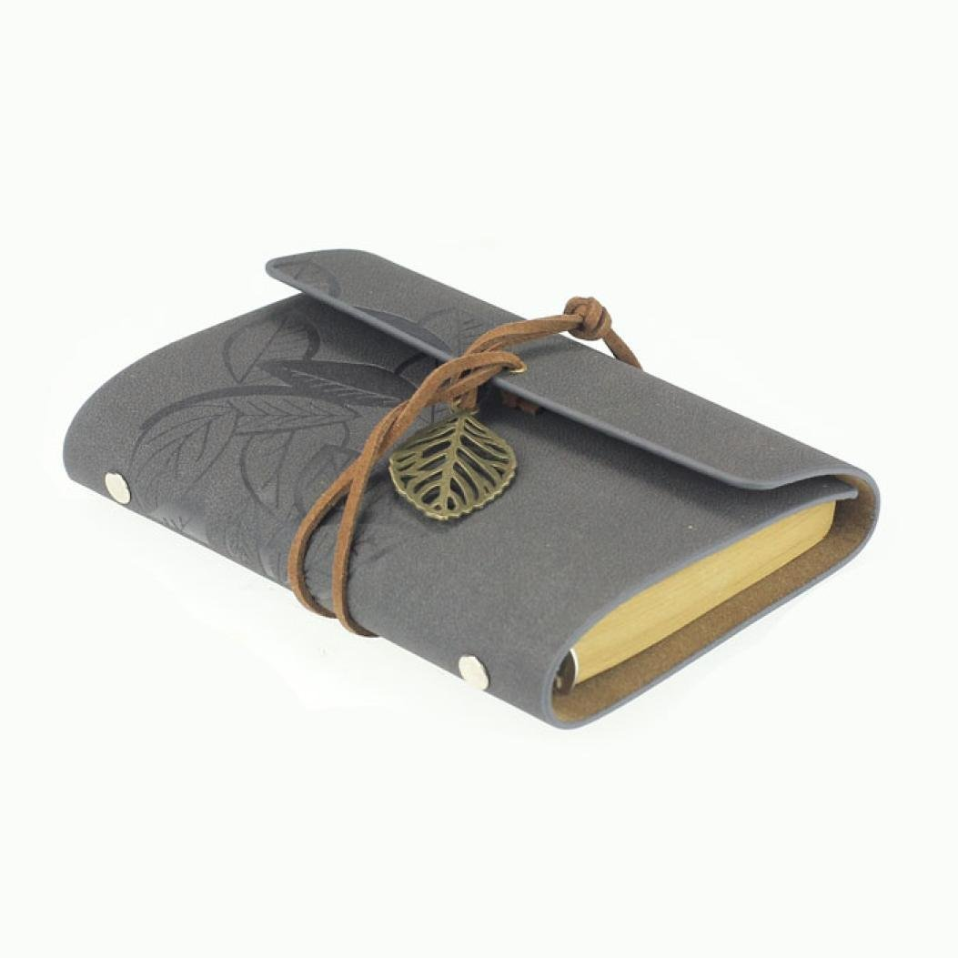 Vintage Leaf PU Leather Cover Loose Leaf Blank Notebook Journal Diary Pocket Size (Gray) mariyana vintage notebook journal diary magic key string retro leather note book diary notebook leaf leather cover blank