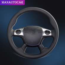 Car Braid On The Steering Wheel Cover for Ford Focus 3 2012-2014 KUGA Escape 2013-2016 C-MAX 2011-2018 Car-styling Auto Covers steering wheel cover for ford mondeo mk4 2007 2012 s max 2008 ford focus 3 2015 2018 kuga 2016 2018 custom made steering braid