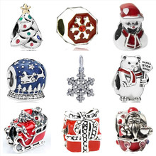 Btuamb New Arrival Gift Box Snowman Snowflake Santa Claus Charm Beads Fit Pandora Bracelets for Women DIY Jewelry Christmas Gift(China)